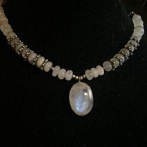 Jewelry - Genuine Moonstone Sterling Silver Necklace Reiki